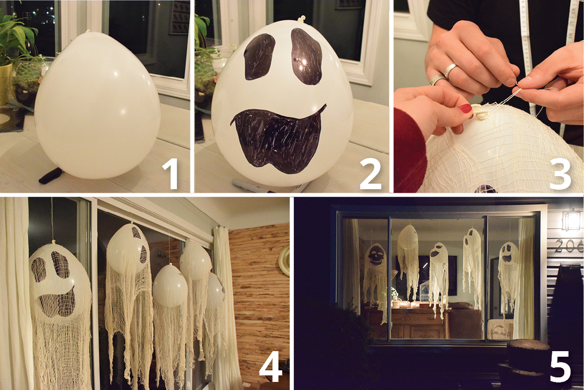 home decorating diy how to make a halloween balloon ghost. Black Bedroom Furniture Sets. Home Design Ideas